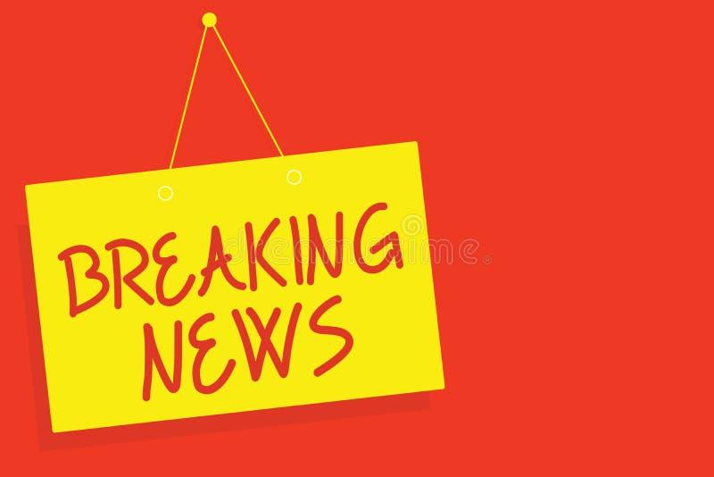 Breaking news för handskrifttexthandstil Begrepp som betyder frågan Flashnews för meddelande för special rapport den händande akt vektor illustrationer