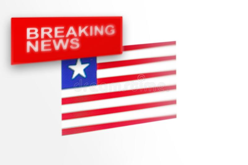 Breaking news, Liberia country`s flag and the inscription news royalty free stock image