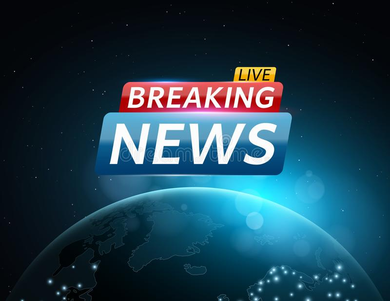 Breaking news live. Abstract futuristic background with a glowing blue planet earth. Technology and business. Live on TV. Space an stock illustration