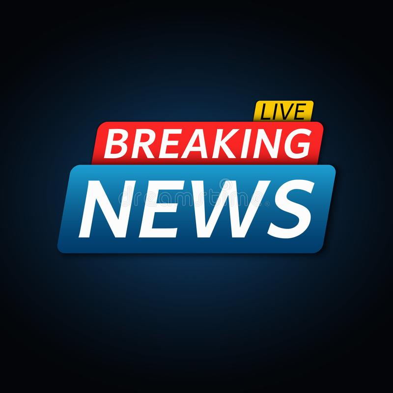 Breaking news live. Abstract red blue banner with white text. Dark blue background. Technology and business. Live on TV. Vector stock illustration