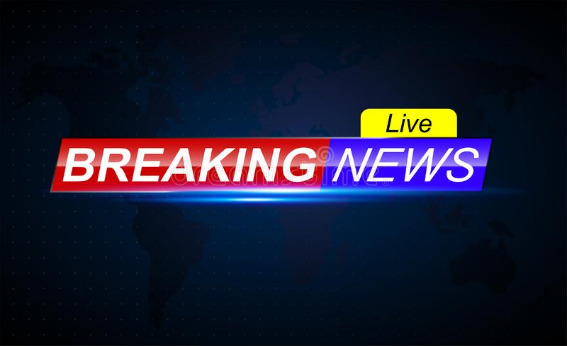 Breaking news live. Red blue banner with light effects. Technology and business. stock illustration
