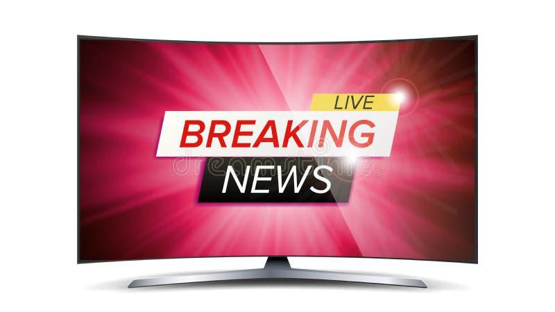 Breaking news Live Vector Röd TVskärm Teknologinyheternabegrepp isolerad knapphandillustration skjuta s-startkvinnan vektor illustrationer