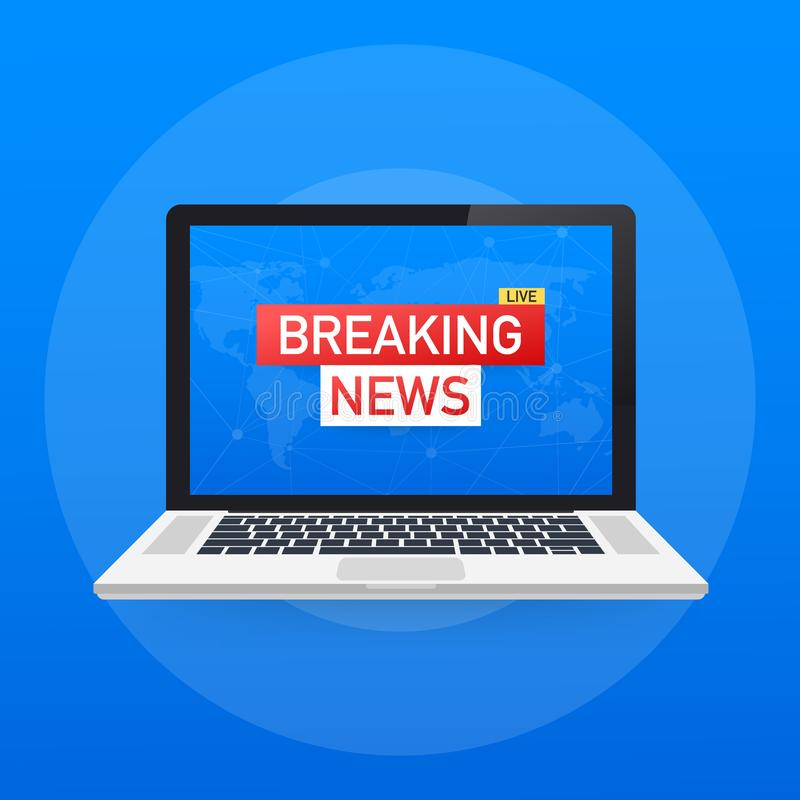 Breaking News Live on World Map Background. News background, breaking news, vector infographic with news theme. royalty free illustration