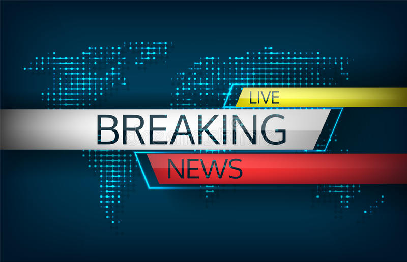 Breaking news live on world map background vector illustration. stock illustration