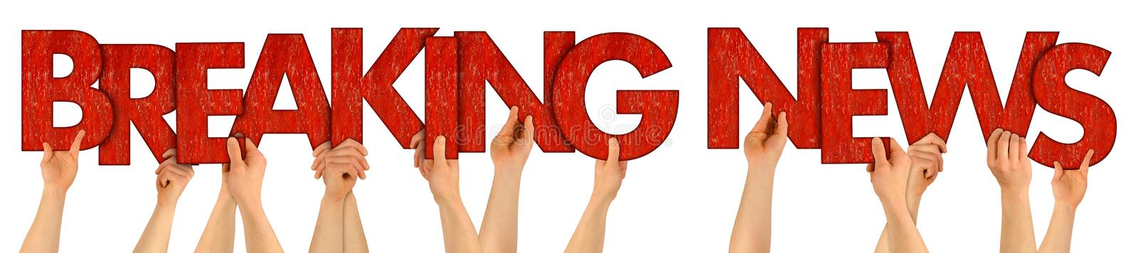 BREAKING NEWS people holding up red wooden letters stock photography