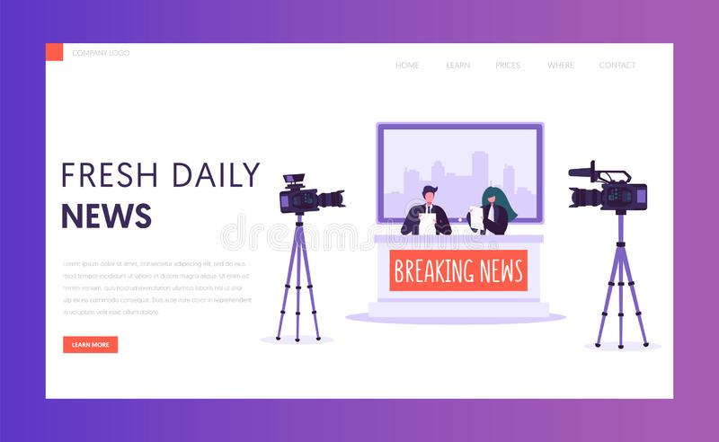 Breaking News Program Concept Landing Page. Live Stream in Television Studio. Announcer Male and Female Character Shoot on Camera vector illustration