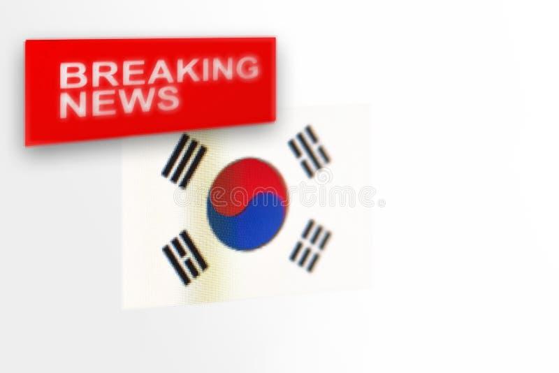 Breaking news-, Sydkorea lands flagga och inskriftnyheterna arkivbilder