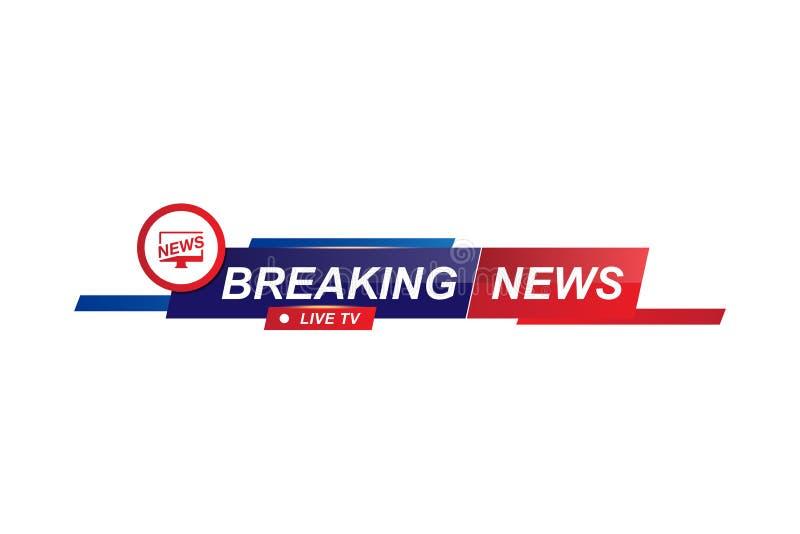 Breaking News template title for screen TV channel on white background. Flat vector illustration EPS10 vector illustration
