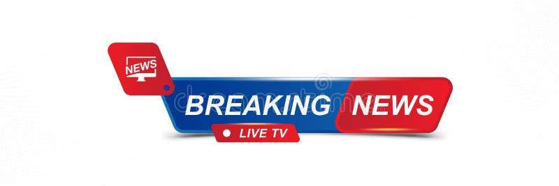 Breaking News template title for screen TV channel on white background. Flat vector illustration EPS10 stock illustration