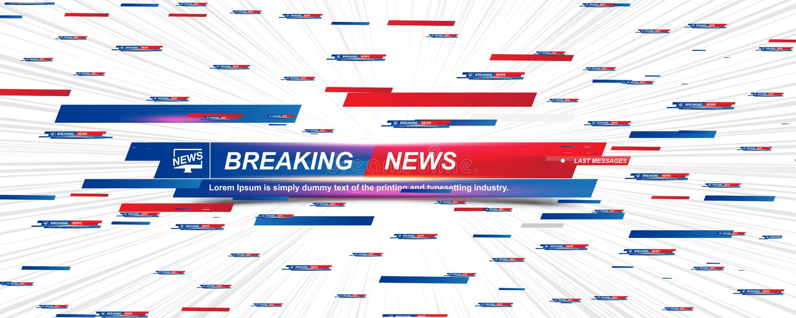 Breaking News template title with shadow and light effects on the technology background for screen TV channel. Flat vector. Illustration EPS10, banner, studio royalty free illustration