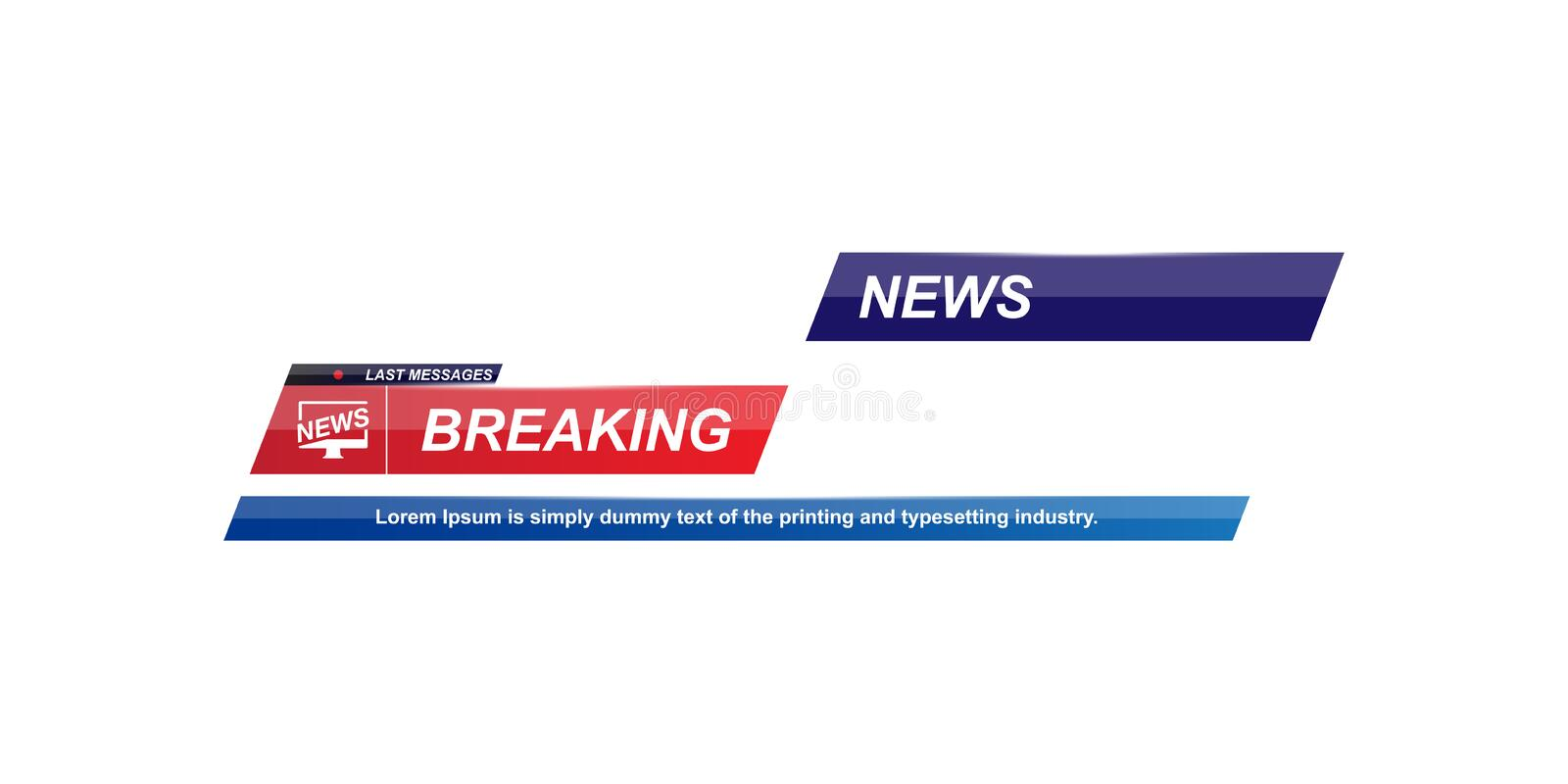 Breaking News template title with shadow on white background for screen TV channel. Flat vector illustration EPS10.  vector illustration