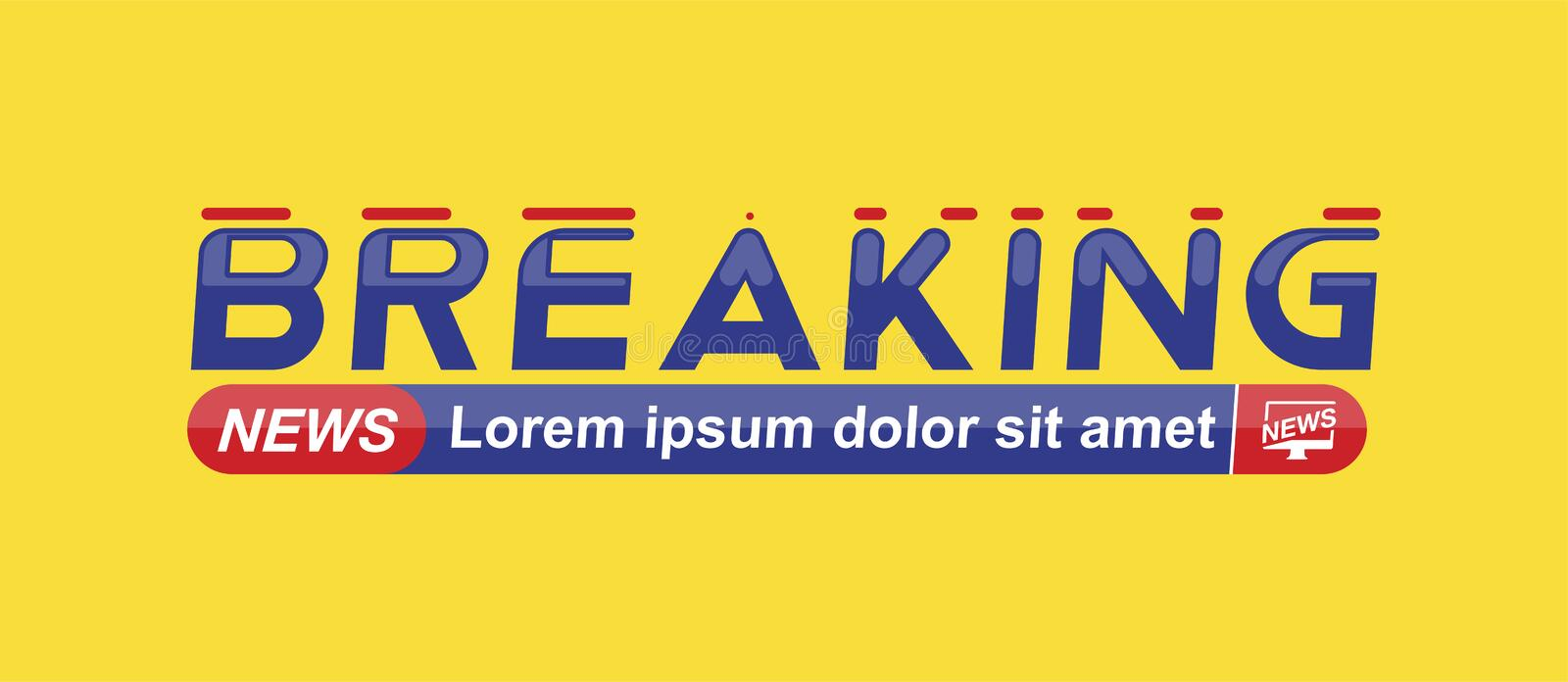 Breaking News template title on yellow background for screen TV channel. Flat vector illustration EPS10.  vector illustration