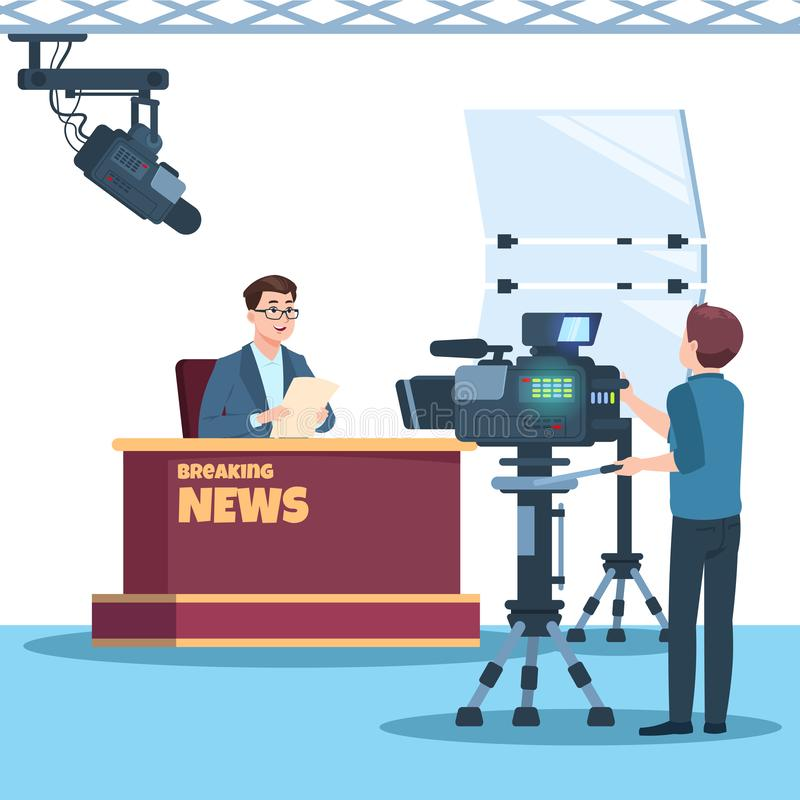 Breaking news tv show studio. Anchorman, cameraman, spotlights and camera vector illustration. Tv studio show, television reportage, correspondent and stock illustration