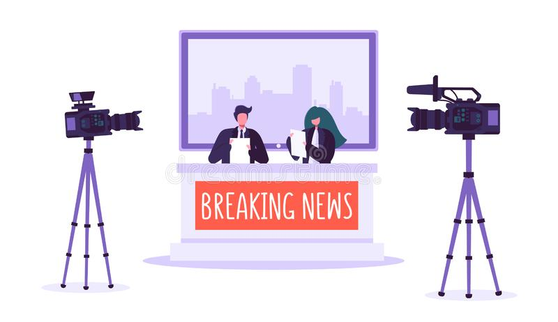 Breaking news tv studio, mass media. Professional journalists characters reading news. TV studio with video cameras stock illustration