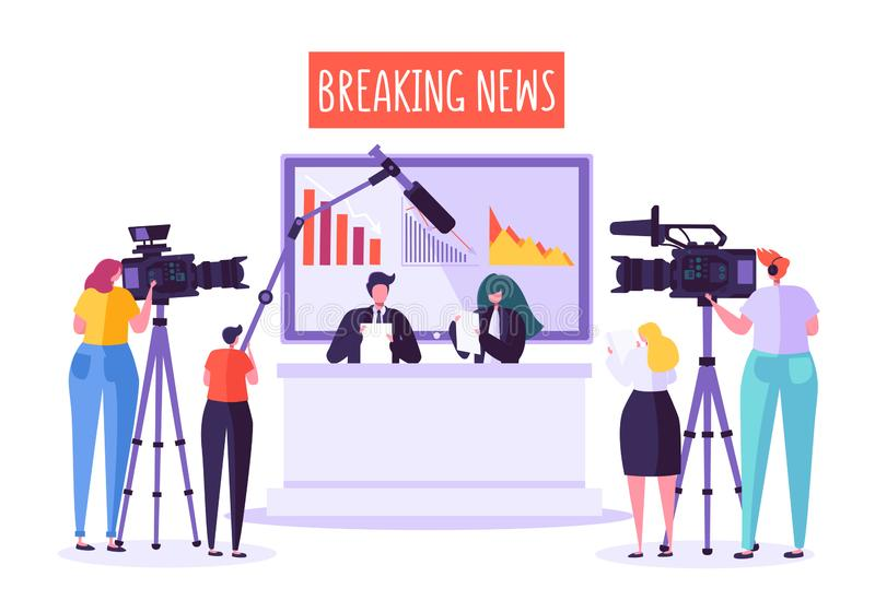 Breaking news tv studio, mass media. Professional journalists characters reading news. TV studio with video cameras vector illustration
