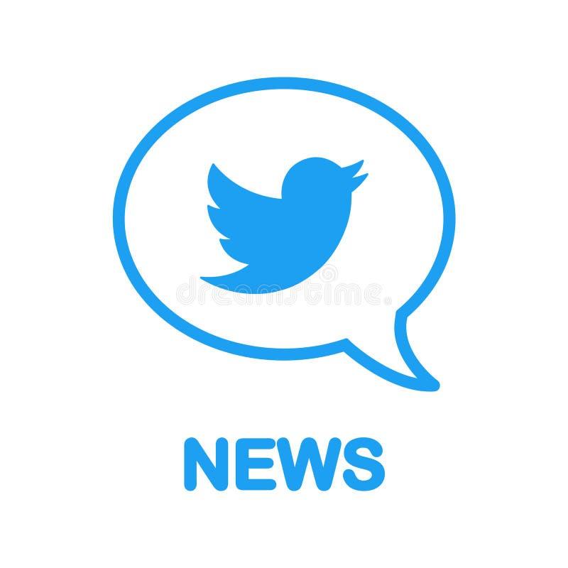 News on Twitter! Bird logo in speech bubble. Flat design. Social media and networking. vector illustration