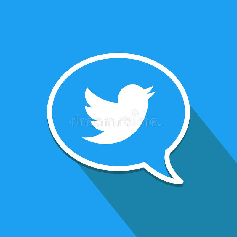 Twitter logo in speech bubble. Flat design icon. Social media and networking. vector illustration