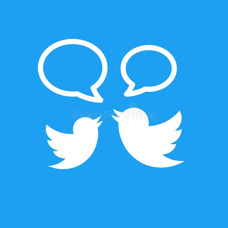 Twitter logo with twittering birds. Flat design. Social media and networking. royalty free illustration