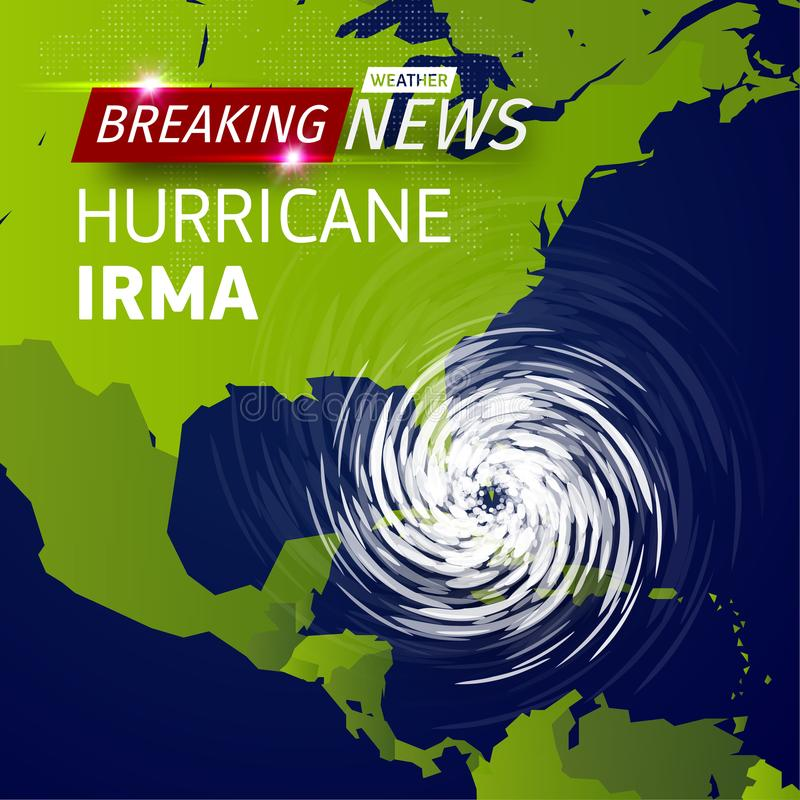 Breaking newsTV, realistisk illustration för orkancyklonvektor på USA översikten, logo för tyfonspiralstorm på den gröna världen stock illustrationer