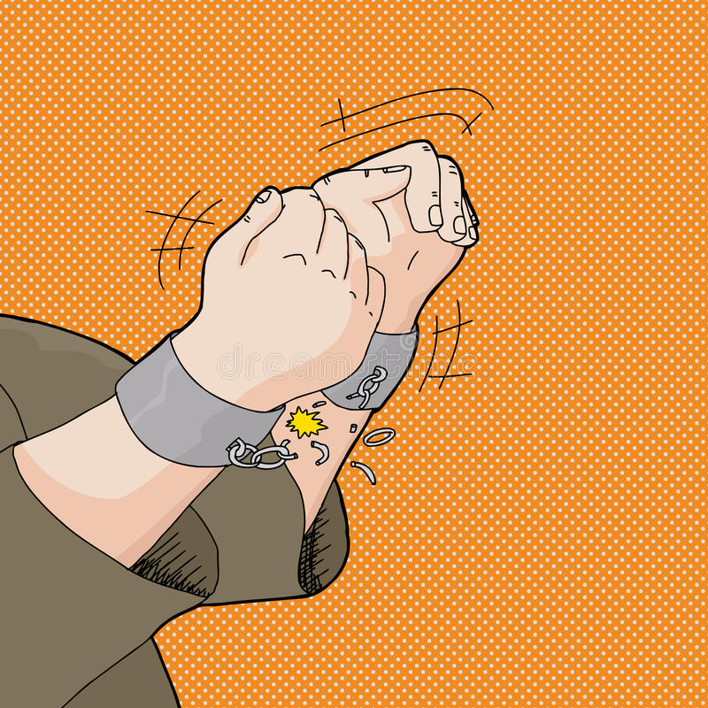 Breaking Out of Handcuffs. Cartoon of captive hands breaking out of handcuffs vector illustration