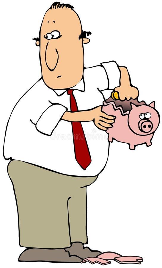 Breaking The Piggy Bank stock illustration
