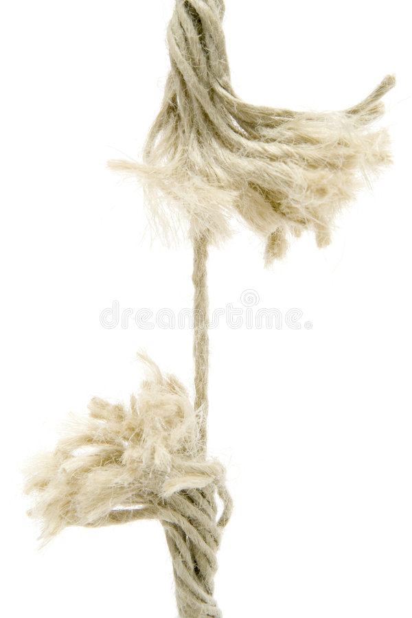 Breaking Rope. Isolated on a white background royalty free stock photos
