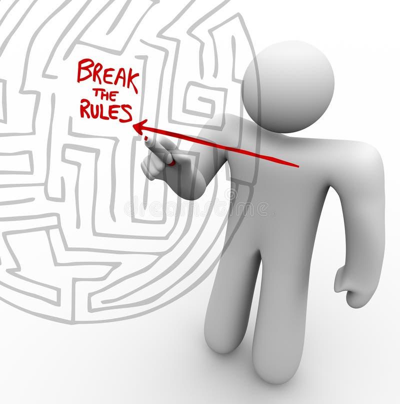 Breaking the Rules - Arrow Through Maze vector illustration