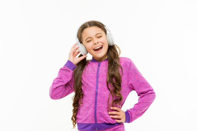 Breaking into a song. Adorable singer isolated on white. Small child doing vocal on song. Little girl singing song for royalty free stock images