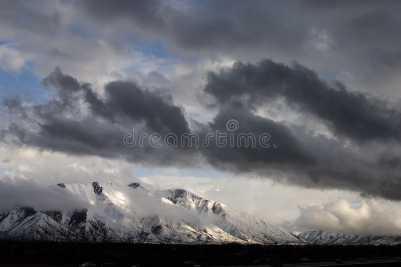 Breaking storm over Spanish Fork Peak royalty free stock photo