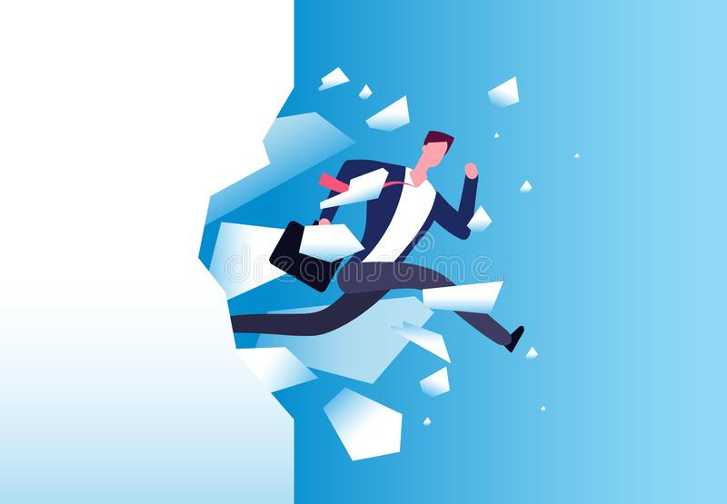 Breaking wall concept. Strong man jamps through barrier. Personal growth, business success and success motivation vector. Poster. Vector man jump through wall stock illustration
