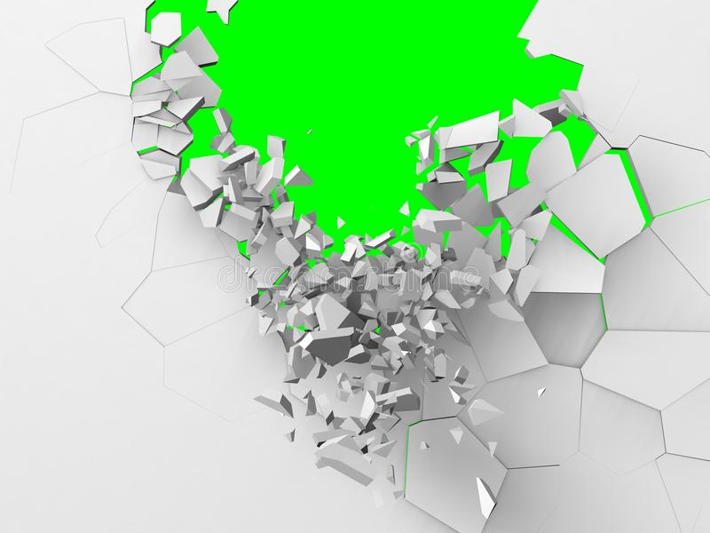 Breaking wall. extremely damaged. Breaking wall, extremely damaged from top and collapsing. green background royalty free illustration