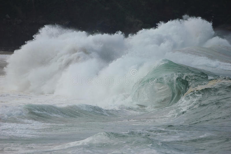 Breaking Wave Waimea Bay. A Big Hollow wave breaking on Waimea Bay the North shore of Oahu Hawaii stock photography