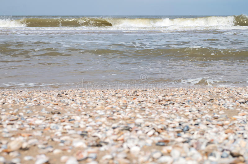 Breaking waves. At the Dutch North Sea coast stock photography