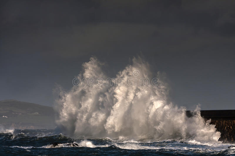 Download Breaking Waves Over Holyhead Breakwater Stock Photo - Image: 29287914