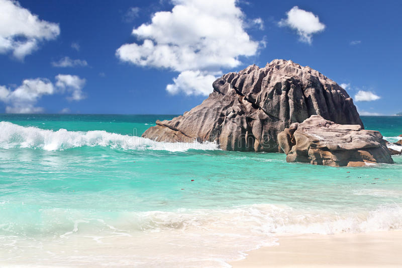 Breaking Waves in The Seychelles stock image