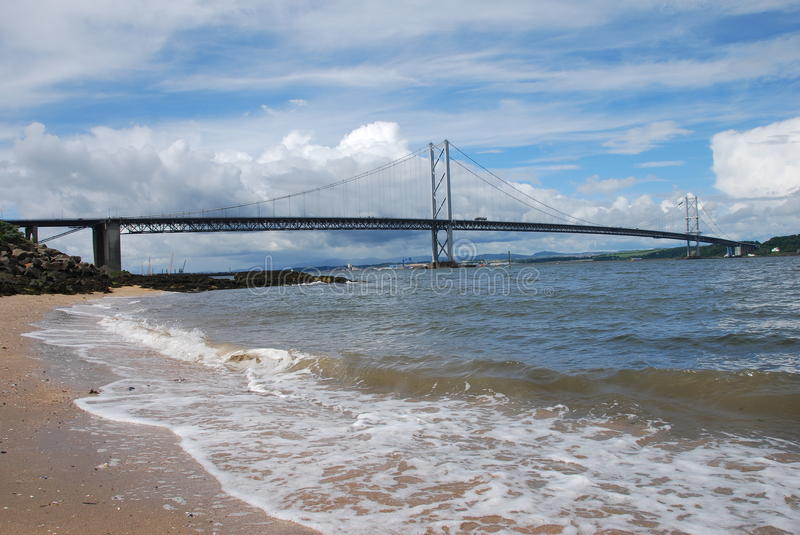 Download Breaking Waves Under Forth Road Bridge Stock Image - Image: 26063091