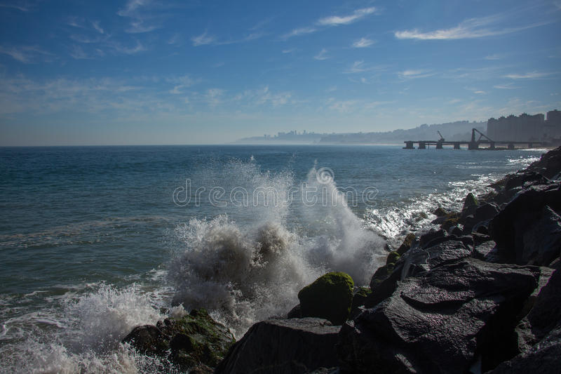Breaking waves. In valparaiso coastline stock photo