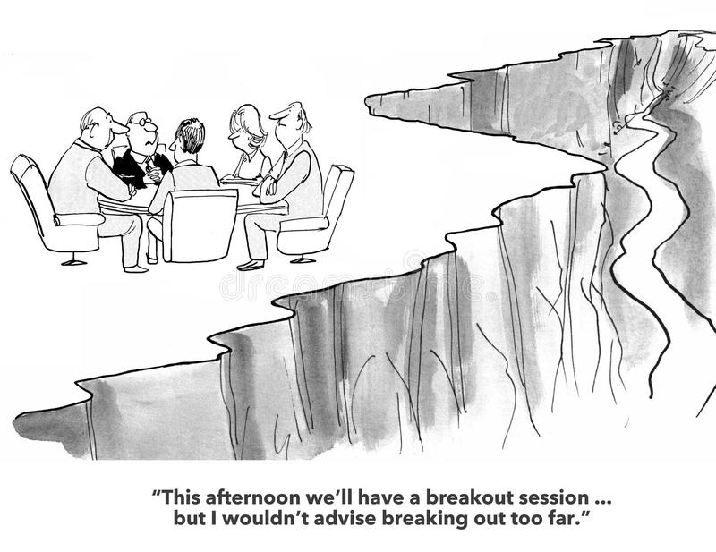 Breakout Session. Business cartoon about team meeting and breakout session vector illustration