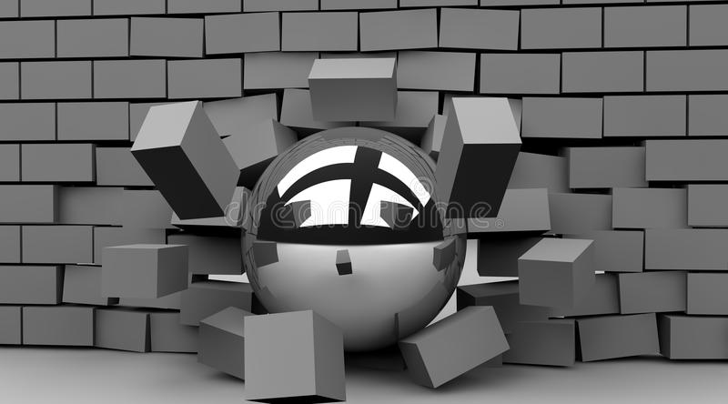 Breakthrough. Ball crashing through wall to illustrate the concept of breakthroug vector illustration
