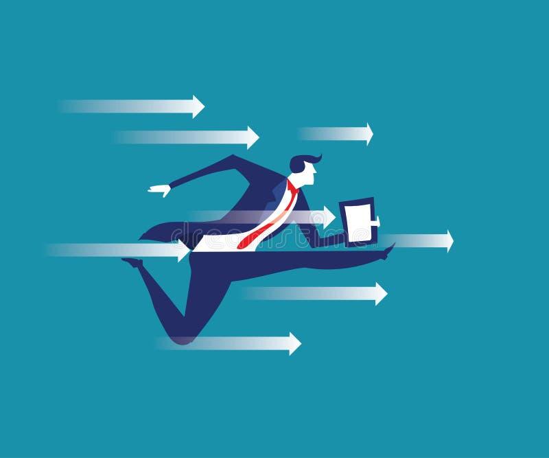 Breakthrough. Business concept illustration. Manager breaking th stock illustration
