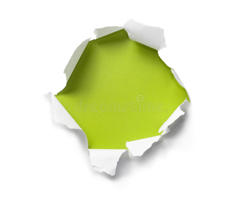 Breakthrough paper hole stock image