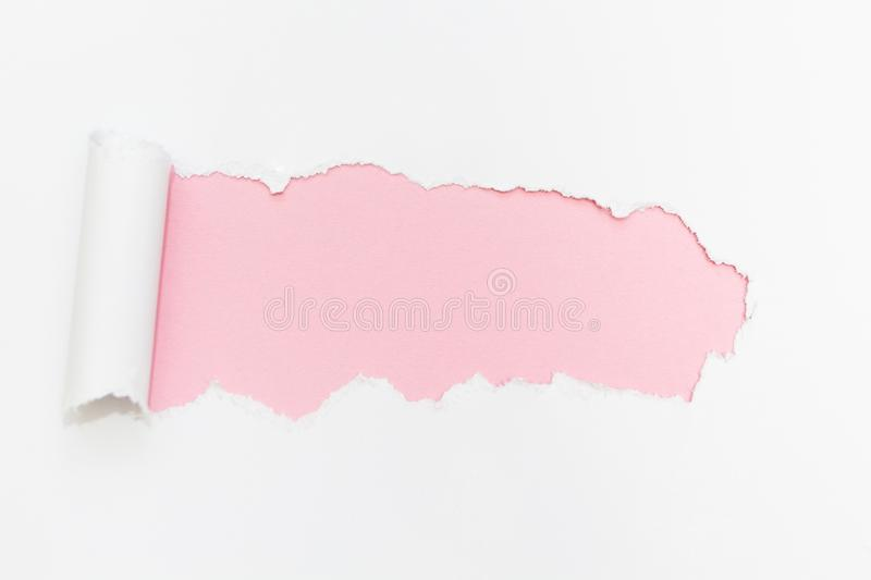 Breakthrough paper hole on isolated white background royalty free stock photos