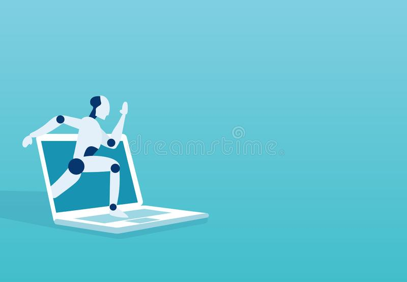 Vector of a robot breaking surface of a laptop monitor vector illustration