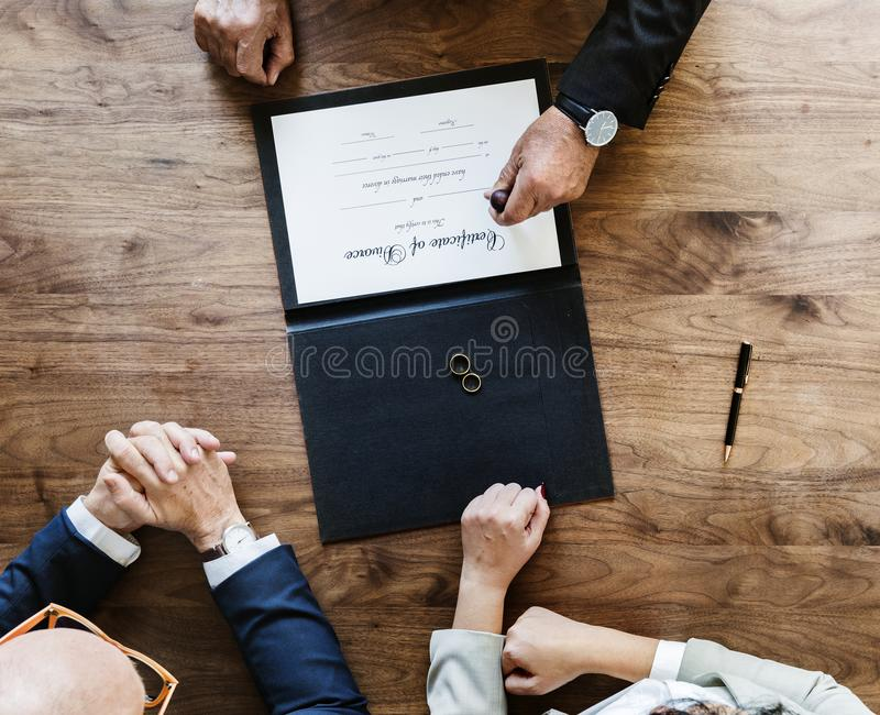Breakup marriage couple with divorce certification stock photos