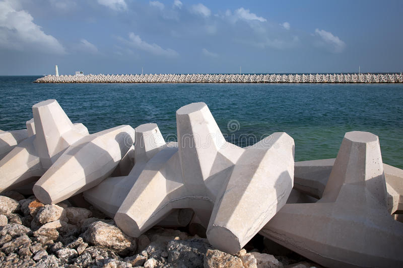 Breakwater. On the Cancun beach royalty free stock photography