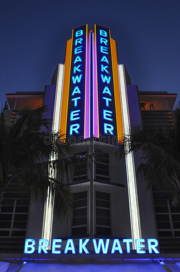 Breakwater Art Deco. Art Deco Style Building Breakwater night scene in Miami Beach, Miami, Florida, USA. Breakwater Hotel on Ocean Drive is one of the most royalty free stock image