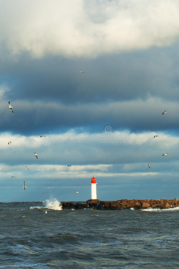 Free Breakwater In Storm. Stock Photography - 48021122
