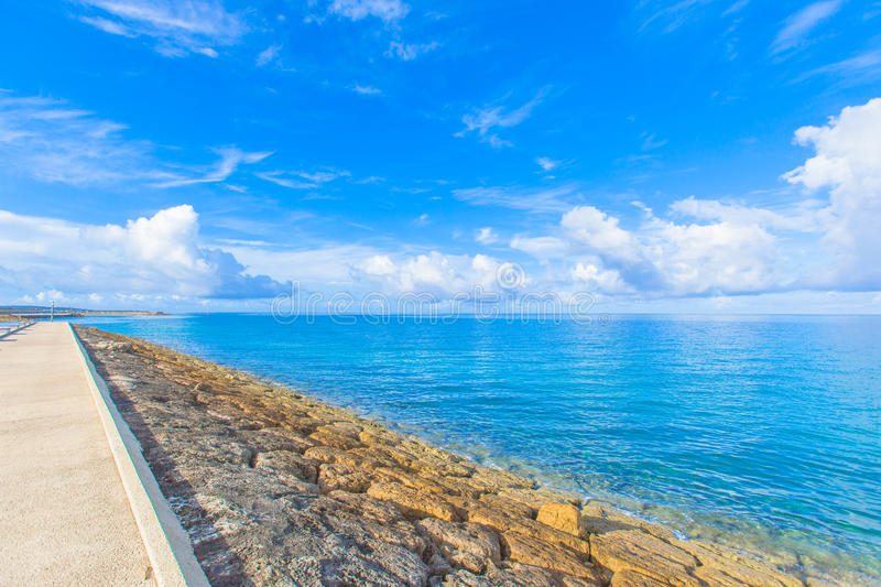 Breakwater road on the sea royalty free stock photography