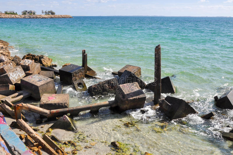 Breakwater in Turquoise Waters royalty free stock photo