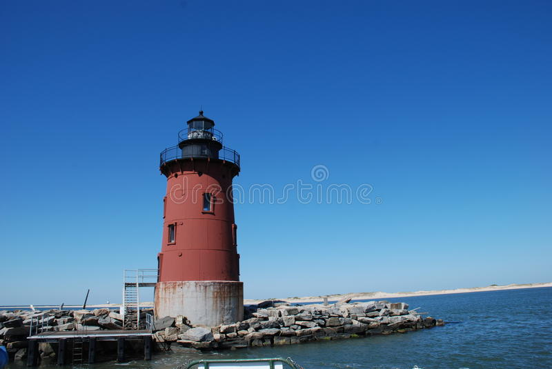 Breakwaters Lighthouse, Lewes, Delaware. Looking at up at Breakwaters Lighthouse Located in Lewes Beach Delaware. Lighthouse is just off the town of Lewes Beach stock photography